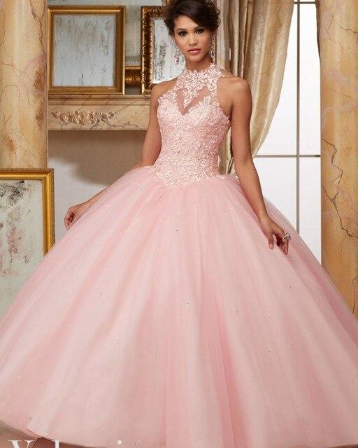 cc7101633ea Light Pink Corset Quinceanera Dress Simple Appliques High Neck Debutante  Gown Off The Shoulder Sweet 17 Dresses vestido 17 anos