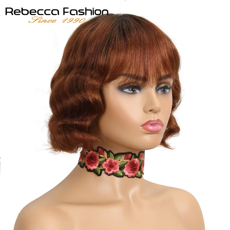 Rebecca Mix Color Body Bob Short Cut Straight Hair Wig Peruvian Remy Human Hair Wigs For Black Women Cheap Wigs Free Shipping