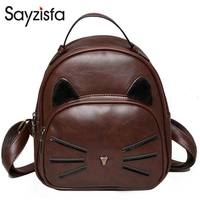 Sayzisfa Brand New Women Backpacks Leather Backpack For Teenage Girls School Bags Lady S Small Vintage