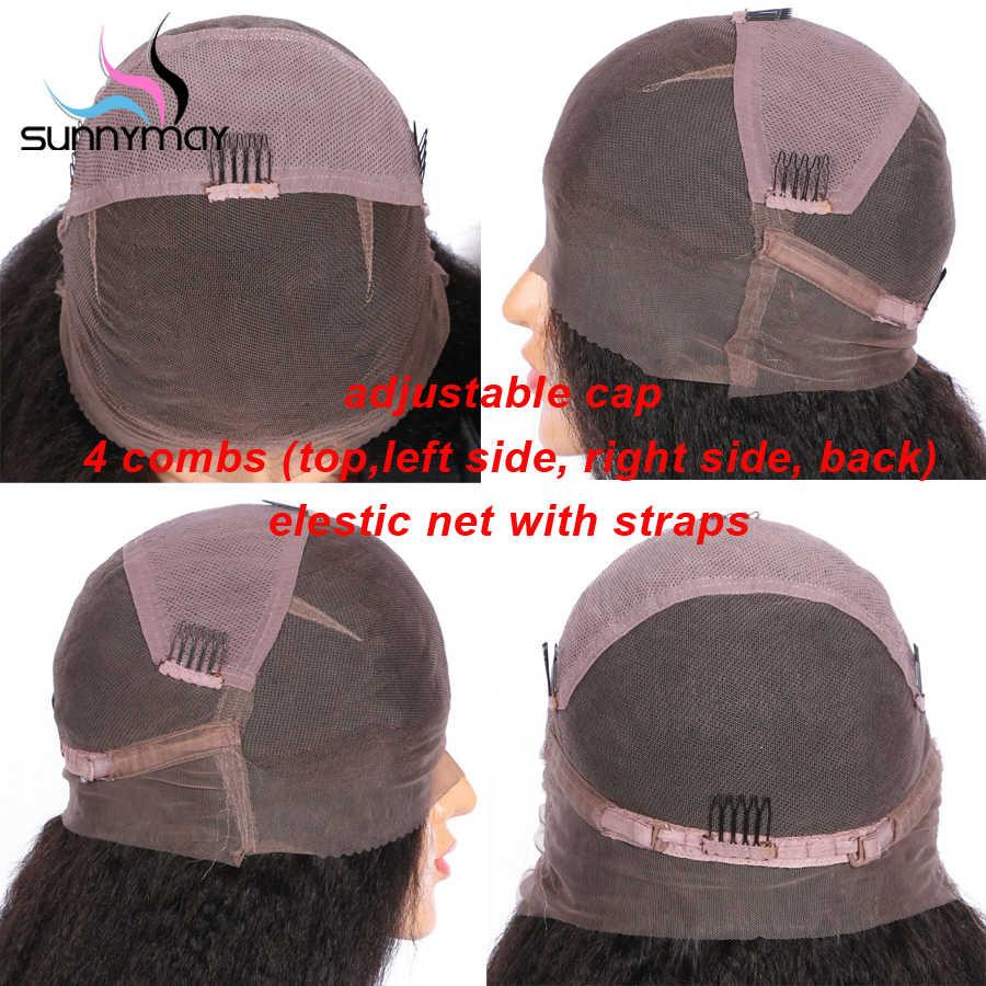 Sunnymay-волосы предварительно сорванные полностью кружевные человеческие волосы парики с челкой 150% бразильские парики Remy Glueless полные парики шнурка для женщин
