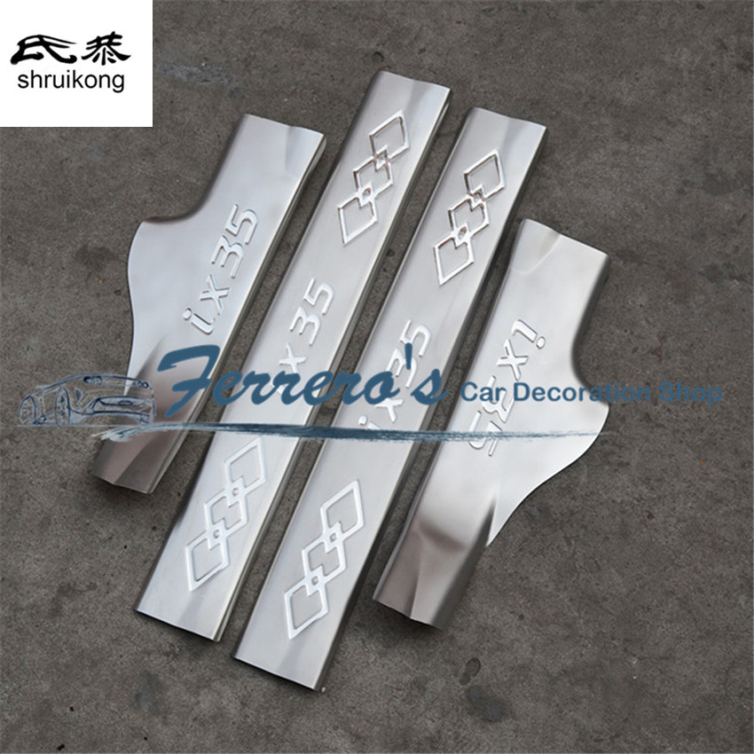 Free shipping for 2010 2015 Hyundai IX35 stainless steel scuff plate inside door sill 4pcs/set high quality