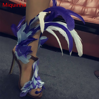 Miquinha Sexy High Thin Heel Pumps Colored Feather Design Women Buckle Shoes Peep Toe Stylish Runway Super Star Party Sandals