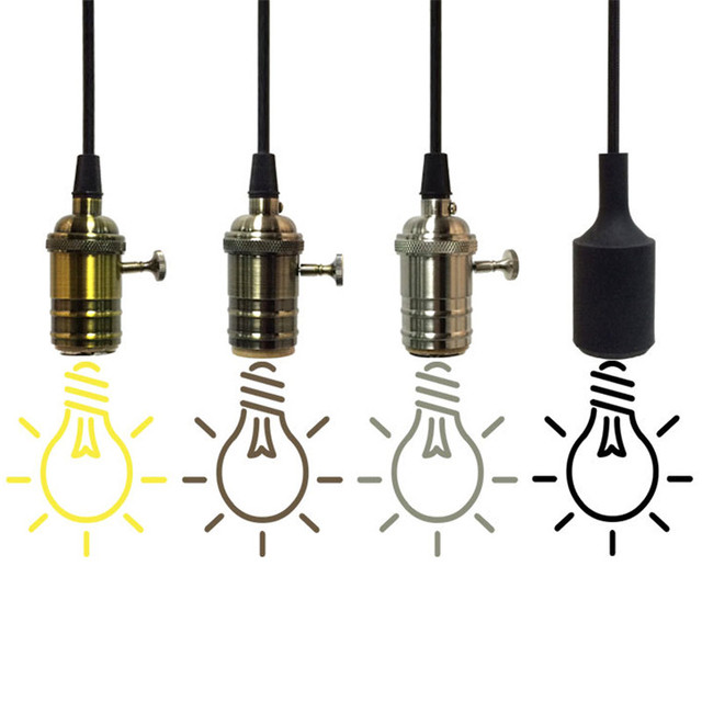 Retro Pendant Lamp Holder Hanging Lights Bulb With Switch Vintage Lighting E27 Bulbs