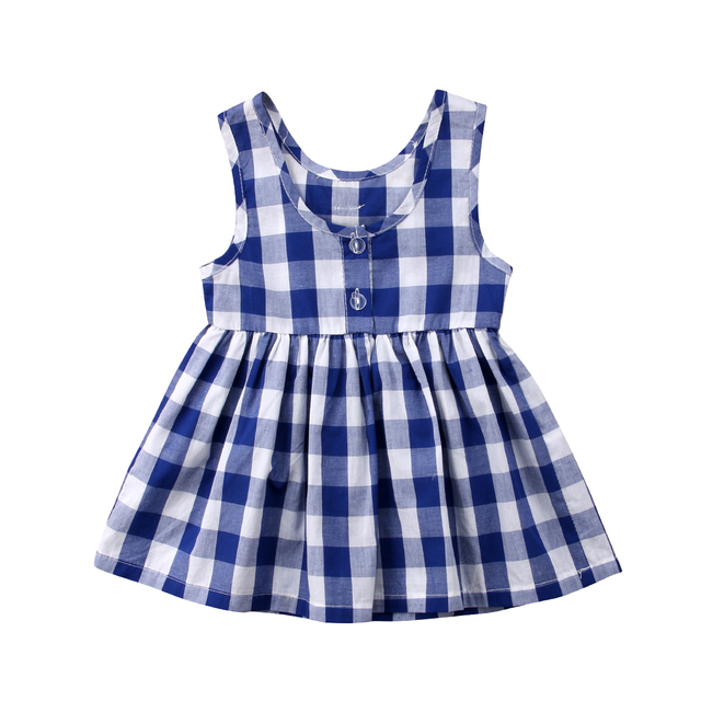 406cfe141488f4 Cotton Toddler Kids Child Baby Girls Blue White Plaid Floral Sleeveless  Dress Sundress Summer Cute Baby