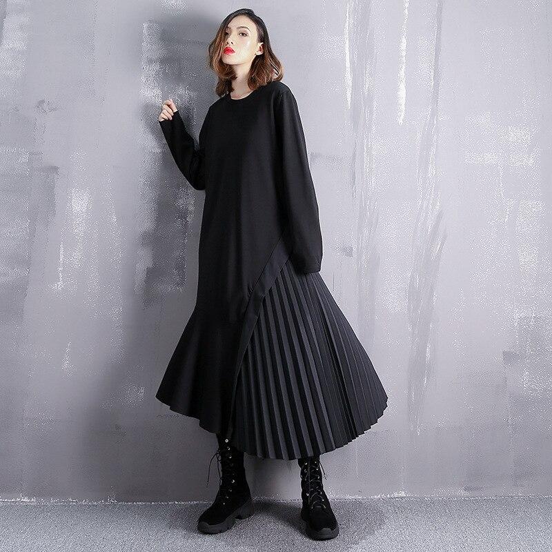 Grande taille robe femmes automne et hiver nouveau unique côté couture plis irrégulière ourlet couleur unie lâche robe
