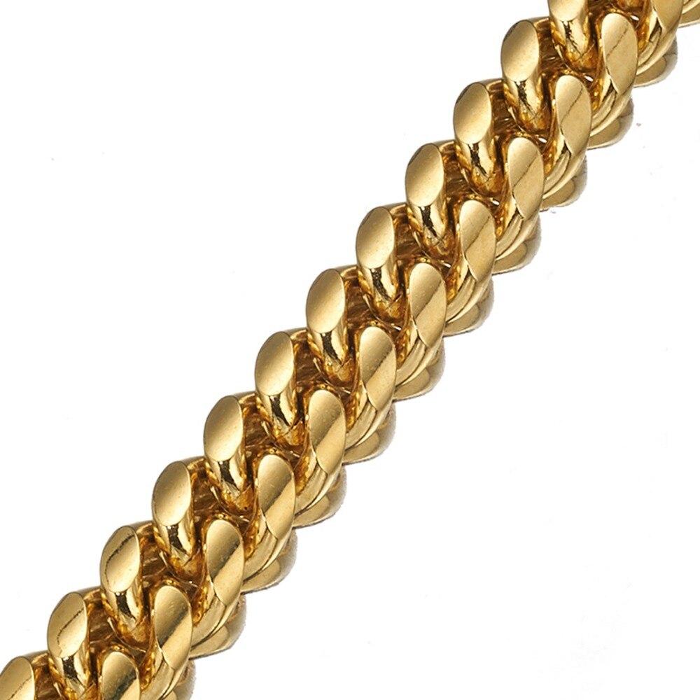 Haute qualité 16mm de large ton or Double bordure cubain Miami Link 316L en acier inoxydable collier de chaîne de chien en gros bijoux pour animaux de compagnie - 3
