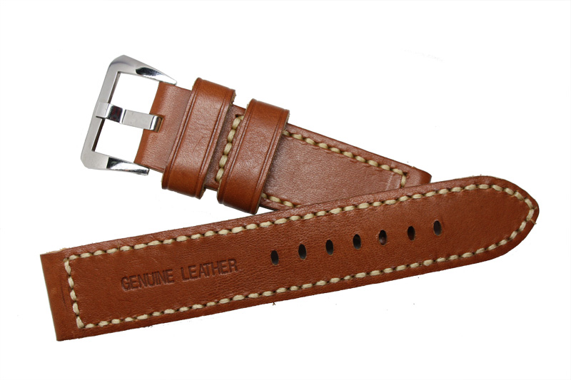 ФОТО Parnis 22mm Black & Brown Genuine Leather Watch band  Strap Pre-V/Tang Brushed Buckle for Wristwatches men Watches Women