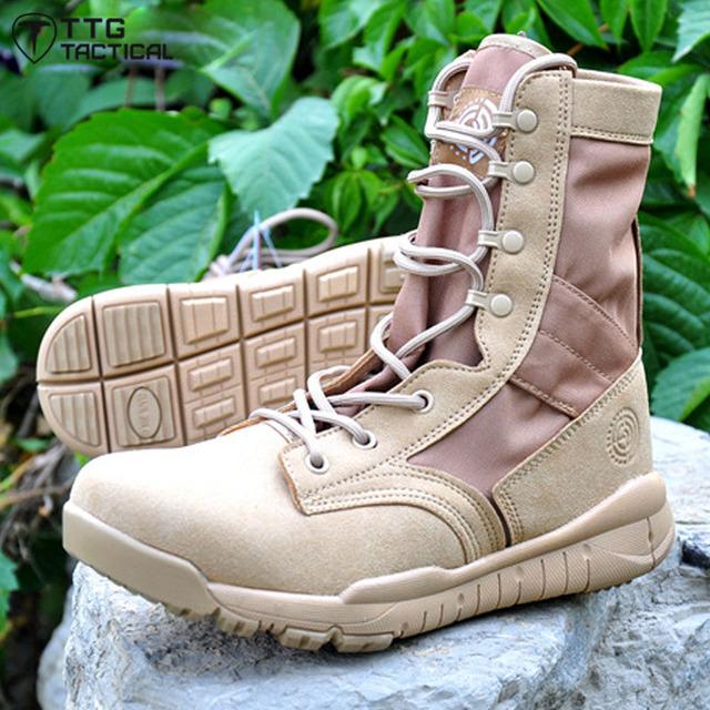 TTGTACTICAL Ultraligero Tactical Boots Mens Botas de Combate Del Ejército de la Policía NOS Transpirable Zapatos Del Desierto Del Ejército/Negro