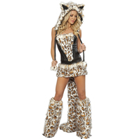 High Quality Women S Sexy Deluxe Frisky Leopard Skirt And Halloween Corset Costume For Women