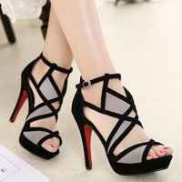 Women Sandals For Female Ladies 2018 Spring Summer Thin High Heels Cross Straps Simple Sexy Women Shoes Plus Size