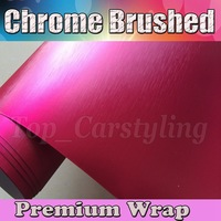 Wholsale Chrome Pink Brushed Steel Air Release brushed Chrome Metallic size 1.52x20m/Roll Wrapl Vinyl Film For Car Wraps