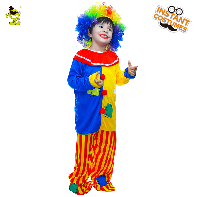 Boys Colorful Clown Costumes Kids Halloween Party Fancy Dress Funny Commedy Peoson Role Play Suits for Masquerade Costumes