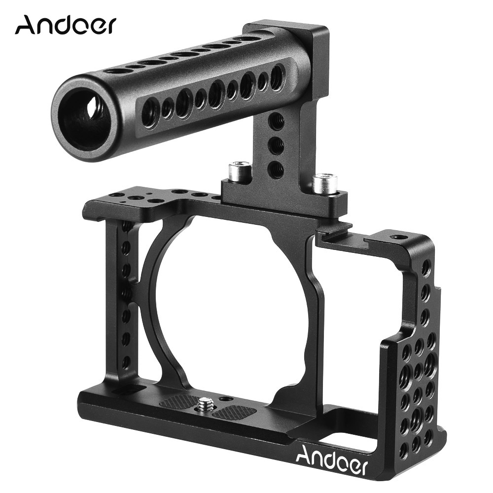 Andoer Protective Video Camera Cage+Top Handle Kit Film Making System For Sony A6000 A6300 NEX7 ILDC Mount Lighting Accessories