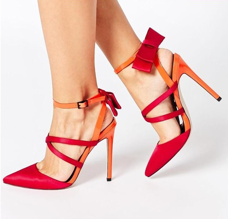 Newest 2019 Red Heels Women Sandals 2019 Mixed Colors Pointed Toe Back Bowite Cross Strap Ladies Shoes With Heel Hollow PumpsNewest 2019 Red Heels Women Sandals 2019 Mixed Colors Pointed Toe Back Bowite Cross Strap Ladies Shoes With Heel Hollow Pumps
