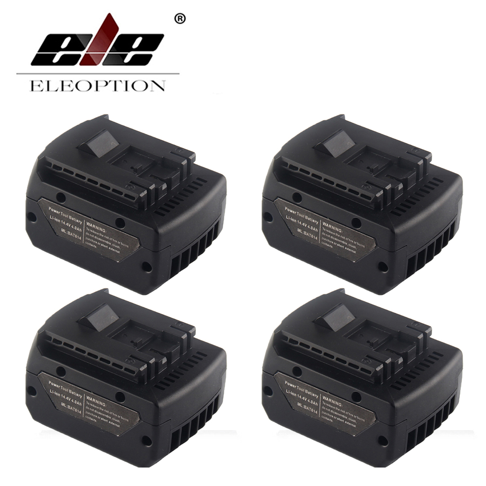 ELEOPTION 4x BAT614 High Quality 14.4V 4000mAh Li-Ion Rechargeable Power Tool Battery For Bosch 2 607 336 150 BAT607 2607336318 spare 2600mah 36v lithium ion rechargeable power tool battery replacement for bosch d 70771 bat810 2 607 336 107 bat836 bat840