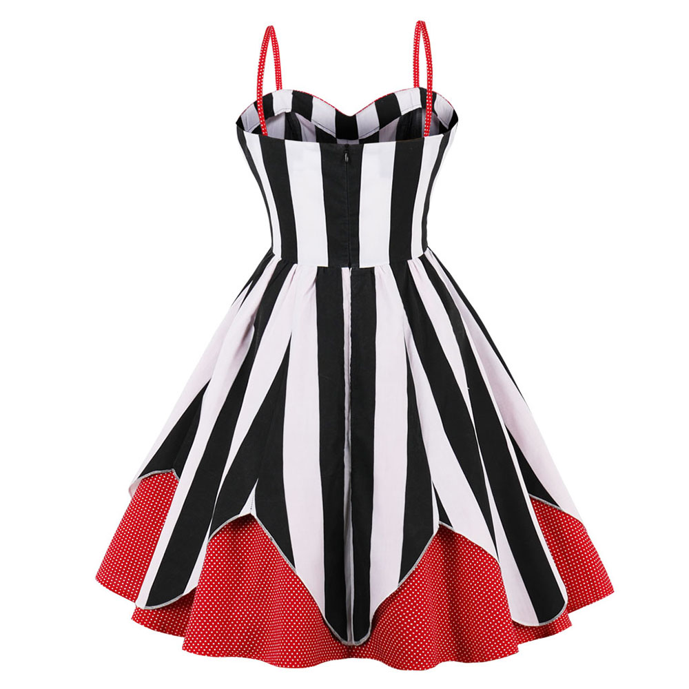 XAXBXC 2018 Summer 1599 Cotton Retro Elegant Girl Black White Striped Prints Slash neck sleeveless Vintage Women Dress Plus Size