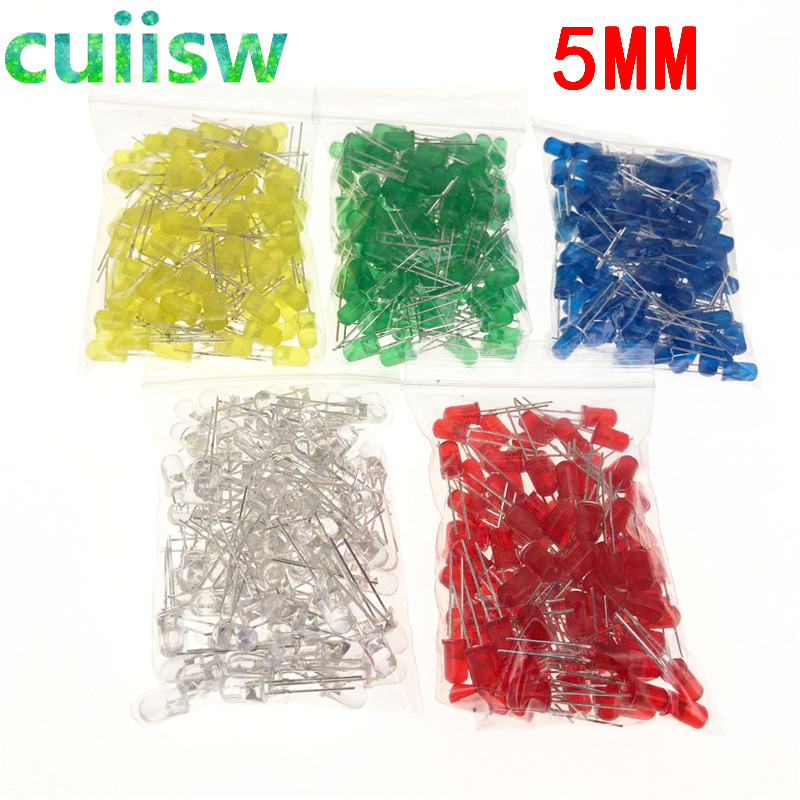 500pcs 5mm Led Diode Light Assorted Kit Diy Leds Set White Yellow Red Green Blue Active Components