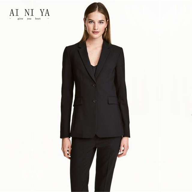 Black Womens Business Suits Blazers Female Office Uniform Two On Las Trousers Formal Work Trouser