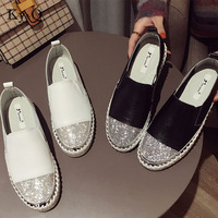 2018 Famous Brand European Patchwork Espadrilles Shoes Woman Genuine Leather Creepers Flats Ladies Loafers White Leather