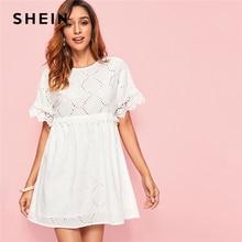 SHEIN White Guipure Lace Trim Schiffy Smock Boho Dress Women 2019 Summer Short Sleeve A Line Cute Mini Dresses For Ladies