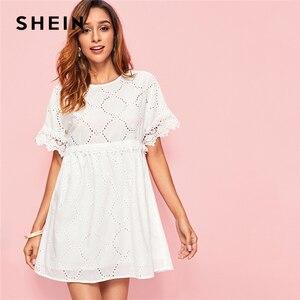 Image 1 - SHEIN White Guipure Lace Trim Schiffy Smock Boho Dress Women 2019 Summer Short Sleeve A Line Cute Mini Dresses For Ladies