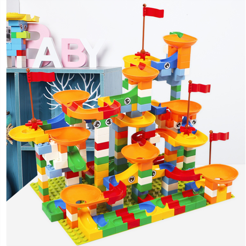 74-296 PCS Marble Race Run Maze Ball Track Building Blocks ABS Funnel Slide