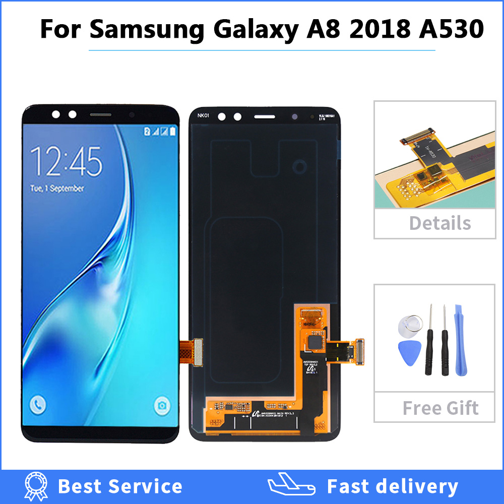 Color : Black LCD Screen Mobile Phone OLED Material and Digitizer Full Assembly for Galaxy A8 Black
