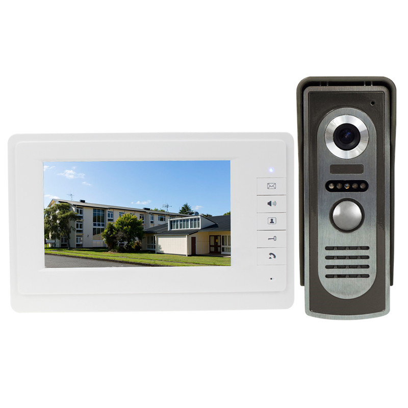Wired Color Video Door Phone 7'' Intercom System 1 indoor Monitor with IR COMS outdoor Camera best price FREE SHIPPING wired video door phone intercom doorbell system 7 tft lcd monitor screen with ir coms outdoor camera video door bell