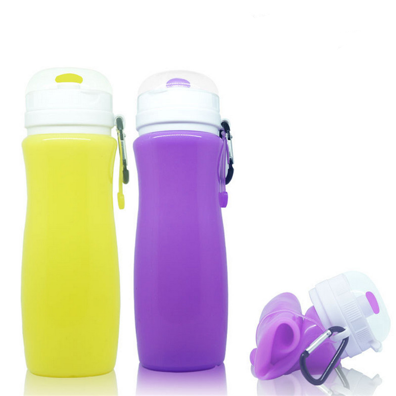 1Pc 450ml Multifunction Collapsible Travel Outdoor Sports Bottles Foldable Hiking Drink Water Mini Bottle