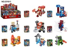 10set SY611 Building Blocks Superes Heroes ASSEMBLE Captain America Spider-Man Minifigures Children Blocks Toys