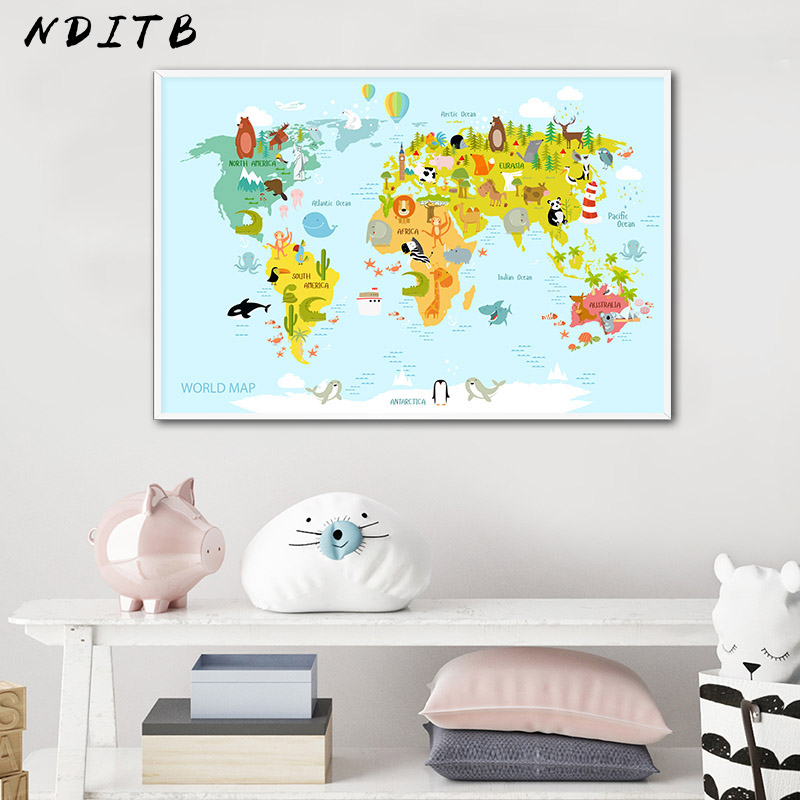 Sea Life Continents Animal World Map Picture Children Poster Nursery Wall Art Canvas Print Painting Baby Kids Bedroom Decoration