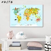 Sea Life Continenten Animal World Map Foto Kinderen Poster Kwekerij Muur Art Doek Schilderen Baby Kids Slaapkamer Decoratie