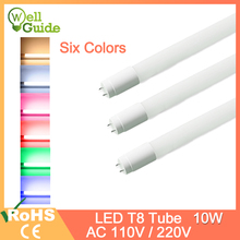 LED Tube T8 Light AC220v 110v 2835 SMD 600mm 10w Integrated Driver Fluorescent Lamp Cold Warm White Red Green Blue