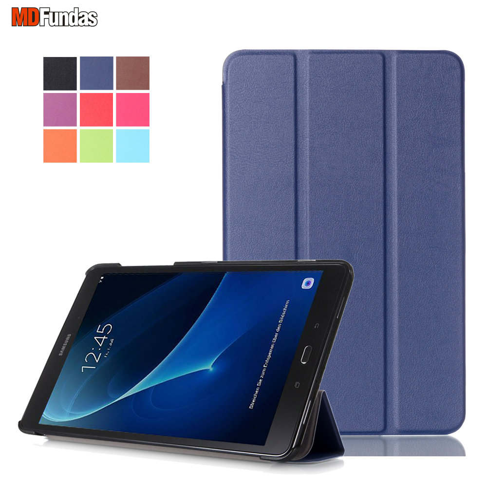 MDFUNDAS Cover Tablet For Samsung Galaxy Tab A 2016 10.1 SM-T585/SM-T580 Tablet Case Wake up Flip Leather Coque+Screen Protector