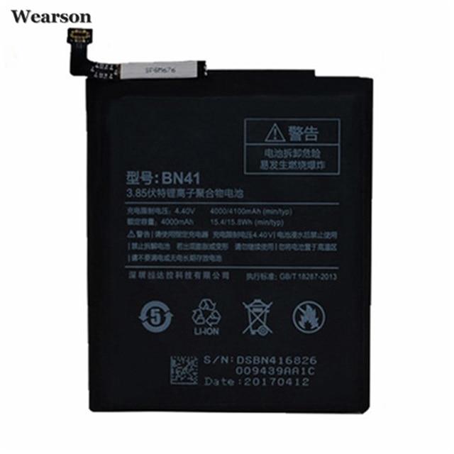 Wearson BN41 Battery For Xiaomi Hongmi Note 4 Redmi Note 4 Battery 4000mAh Free Shipping to Russia