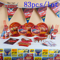 Kids Favor Disney Cars 83Pcs Cup+Plate+Flag+Horns Boy Birthday Baby Shower McQueen Tableware Toy Noise Maker Decoration Supply
