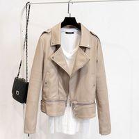 2017 New Fashion Spring Autumn Women Faux Soft Leather Jacket Long Sleeve Coat Motorcycle Zipper PU