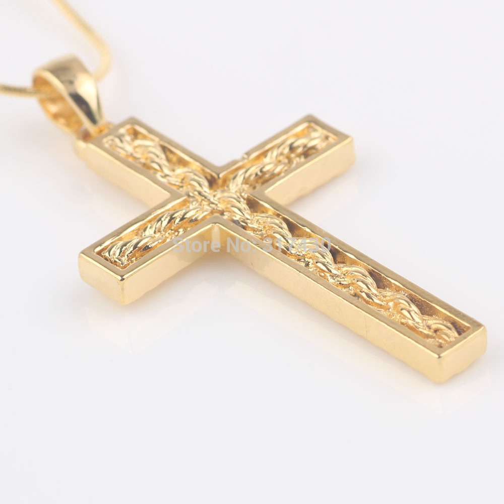 Womens mens 24k solid yellow gold filled cross pendant necklace womens mens 24k solid yellow gold filled cross pendant necklace chain with twistted desin in the cross in pendants from jewelry accessories on aloadofball Gallery