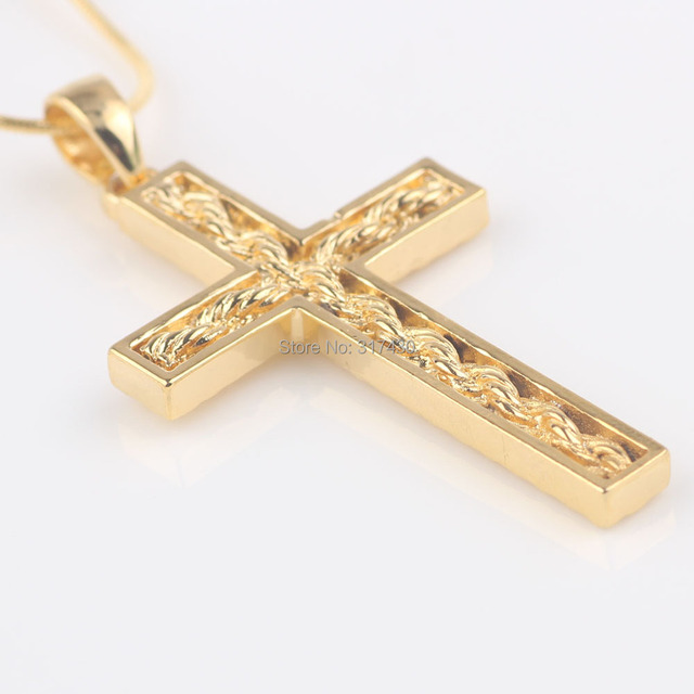 Womens mens 24k solid yellow gold filled cross pendant necklace womens mens 24k solid yellow gold filled cross pendant necklace chain with twistted desin in the aloadofball Images