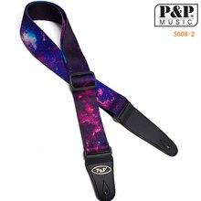 Фиолетовый узор неба электрогитара ремень акустический народный гитарный ремень с полиуретановыми наконечниками ремень для музыкальных инструментов аксессуары