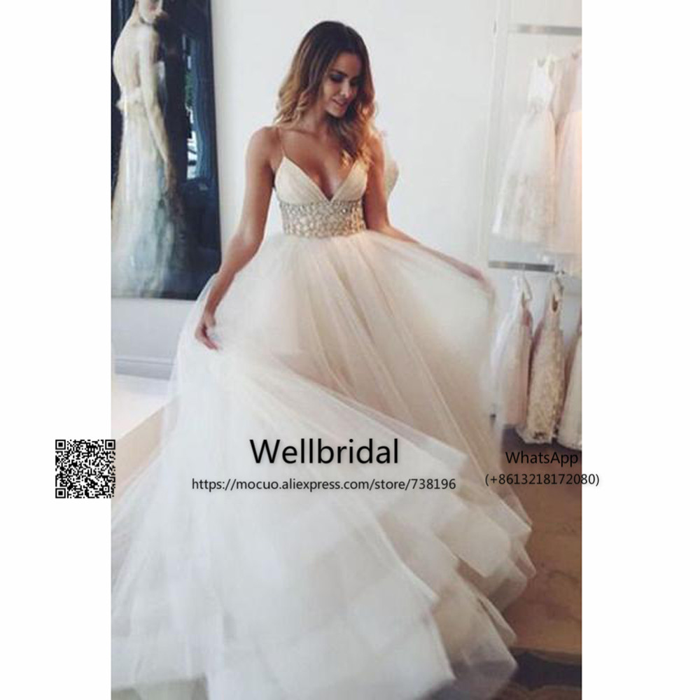 Self-Conscious Elegant 2019 New Puffy Wedding Dress With Inside Petticoat Crystals V-neck Vestidos De Novia Bridal Dress Formal Wedding Gown Weddings & Events