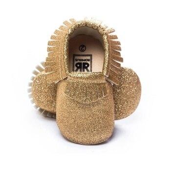 Oro centelleante bebé Niño Zapatos Bling recién nacido primeros caminantes regalo de navidad niños mocasines borla cuero chicas brillantes zapato 0-2Y