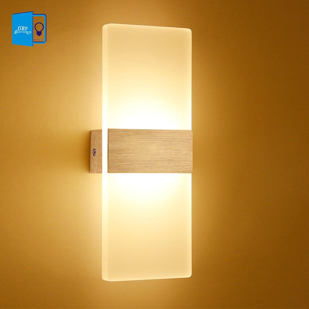 [Dbf] акрил 6 Вт 12 Вт светодиодный светильник настенный вверх и Подпушка AC220V светодиодный лестница ночники Спальня чтение бра крыльцо свет укр...