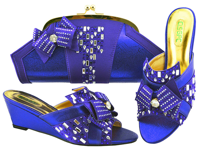 Wedges Heel African Shoes And Bag Set For Wedding Party Fashion Italian Design High Quality Shoes With Matching Bag Set MM1072 hot artist italian design shoes with matching bag set for wedding african style rhinestone high heels shoes and bag set tx 998