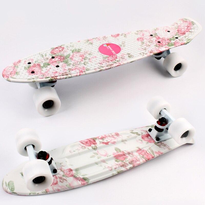 Бесплатная доставка мини-cruiser скейтборд 22 дюймов доски пены с цветочным принтом пластиковые пластины рыба, банан скейтборд одной плате