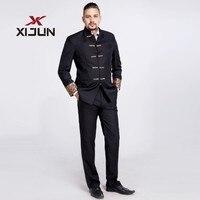 Xijun плюс Размеры женихов Для мужчин костюм 2 шт. (куртка + брюки) Винтаж черный Нарядные Костюмы для свадьбы для Для мужчин с вышивкой СМОКИНГ
