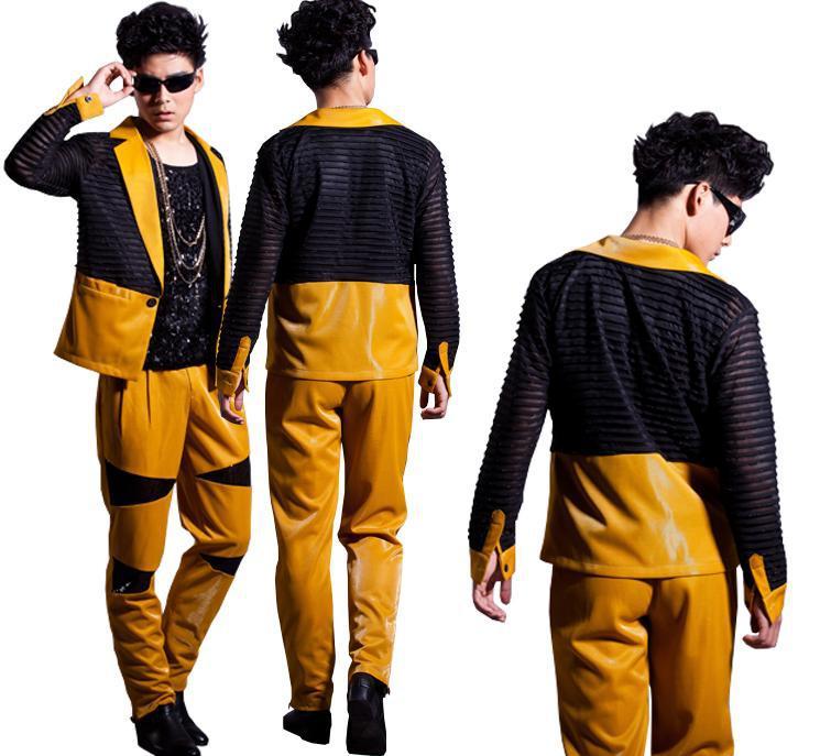 Geel Zwart Golf Punt Pak Koreaanse Custom Made Mannen 2 STUKS Suits Set (jas + broek) mannelijke Straat Mode Pak Blazer Jasje DJ Stage - 2