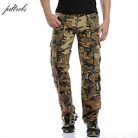 PDTXCLS 2018 Men's Multi Pocket Casual Camouflage Pants Men Military Cargo Pants Washed Trouers Loose Pants For Men New Arrival