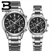 Origina Binger High Quality Women Watches Stainless Steel Couples Lovers Watch Ladies Pair Wristwatch Men Wristwatches
