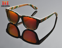 2015 Green Multicolored wood Sun glasses For Women Natural Wood Frame Gafas de sol de madera Oculos de sol da MadeiraDD0916